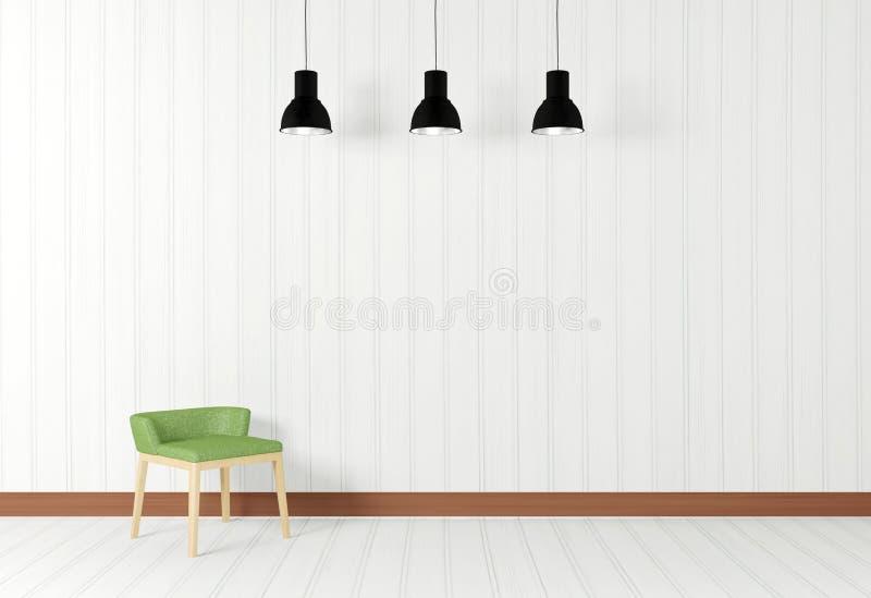 Wit ruimtebinnenland in minimale stijl met stoel royalty-vrije illustratie