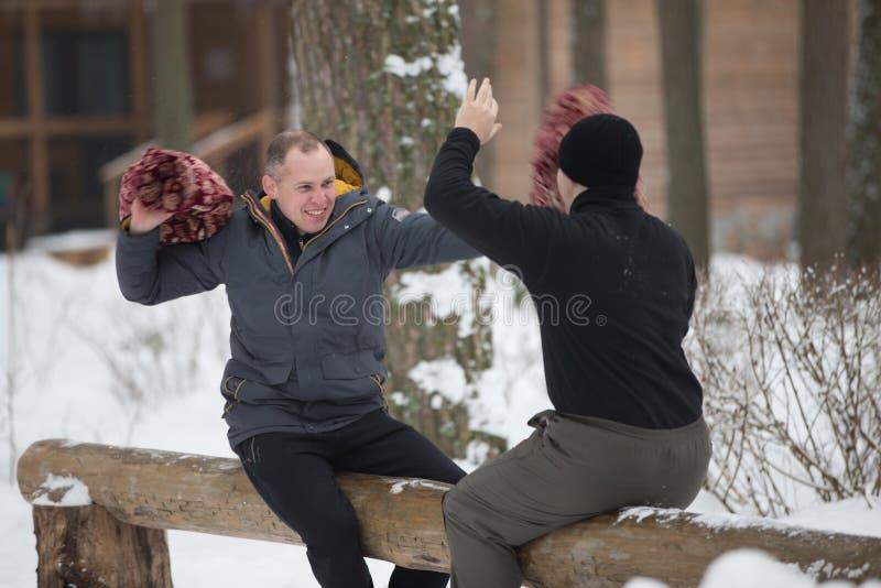 Wit-Rusland, Gomel, 18 Februari, 2018 Russische vakantie die van de winter Maslenitsa zien stock afbeelding