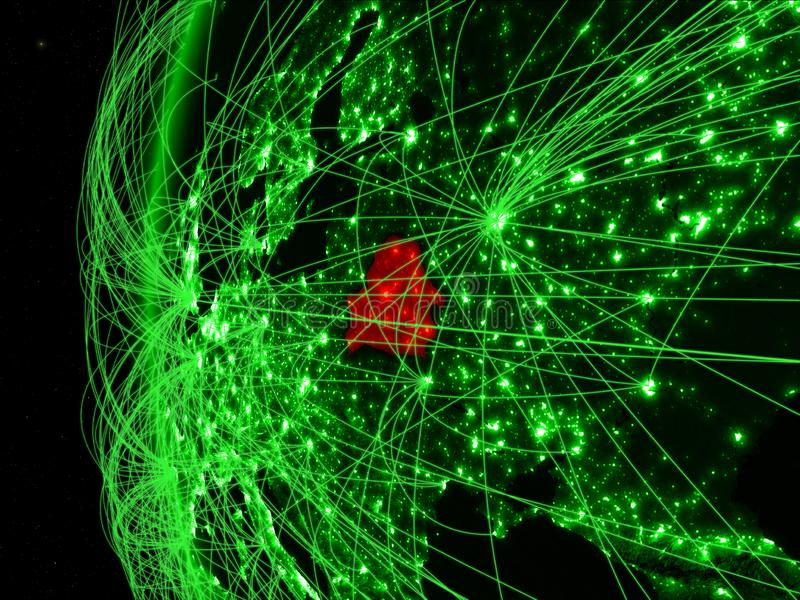 Wit-Rusland van ruimte op groen model van Aarde met internationale netwerken Concept groene mededeling of reis 3D Illustratie stock foto