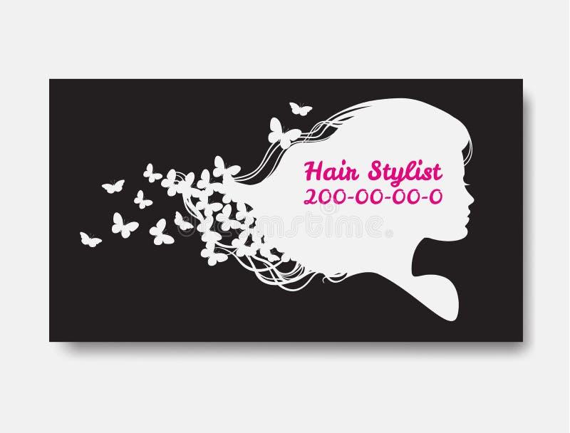 Wit silhouet van vrouw met lang haar en vlinders Templa stock illustratie