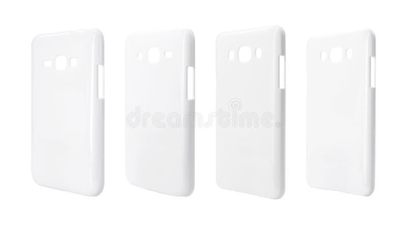 Wit smartphonegeval op geïsoleerde achtergrond met het knippen van weg Plastic dekking voor uw ontwerp stock illustratie