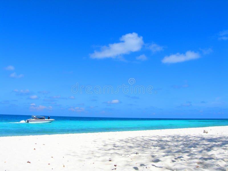 Wit strand het donkerblauwe overzees royalty-vrije stock afbeeldingen