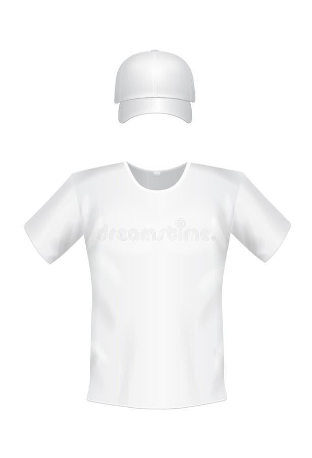 Wit t-shirt en honkbalglb vooraanzicht voor mensen royalty-vrije illustratie