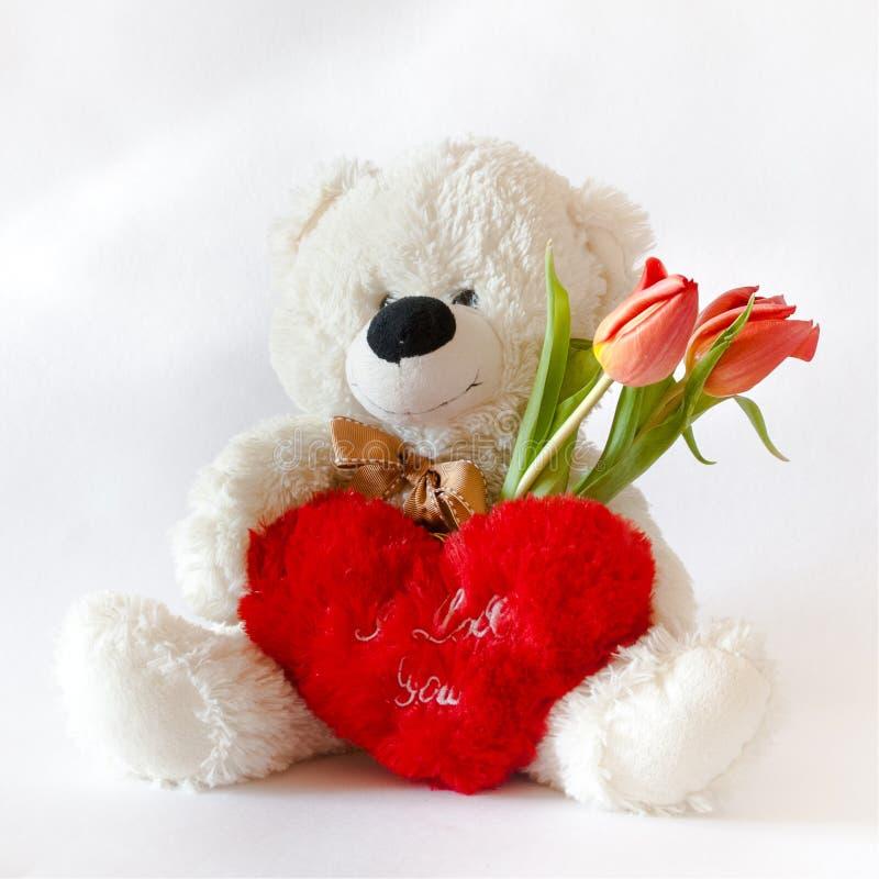 Wit Teddy Bear voor de Dag van Valentine ` s royalty-vrije stock foto