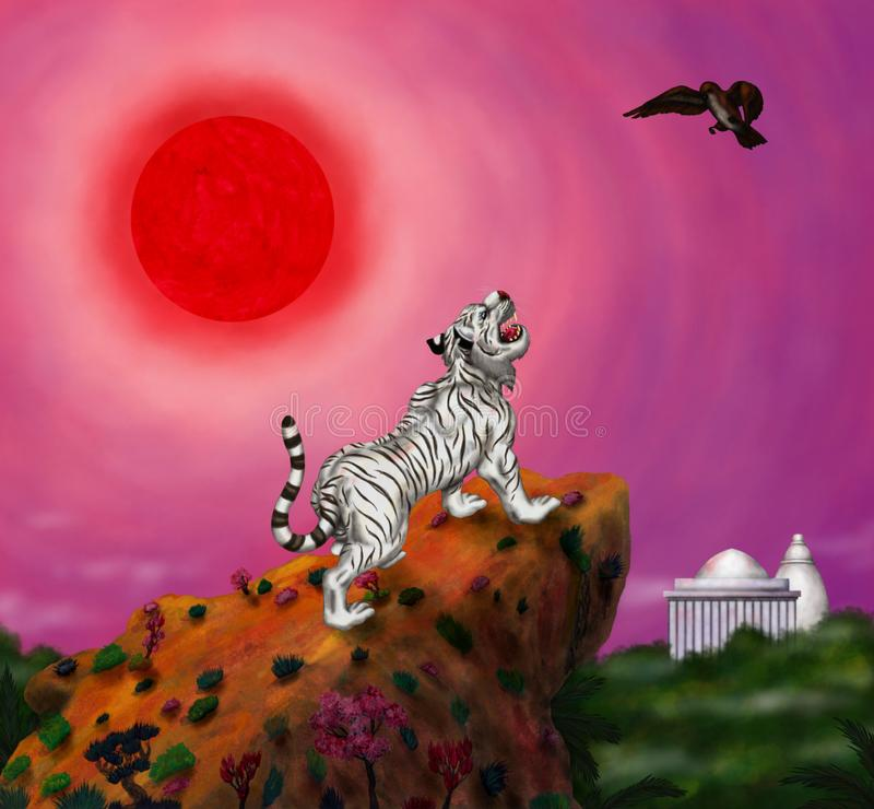 Wit tijger gebrul en vogel die in India, het toenemen vliegen van de rode zon royalty-vrije stock foto's