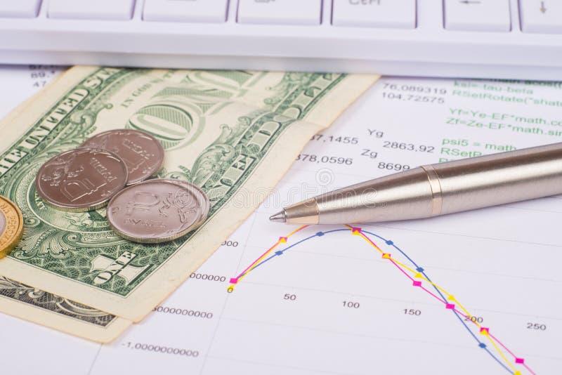 Wit toetsenbord met dollars en muntstukken stock afbeeldingen