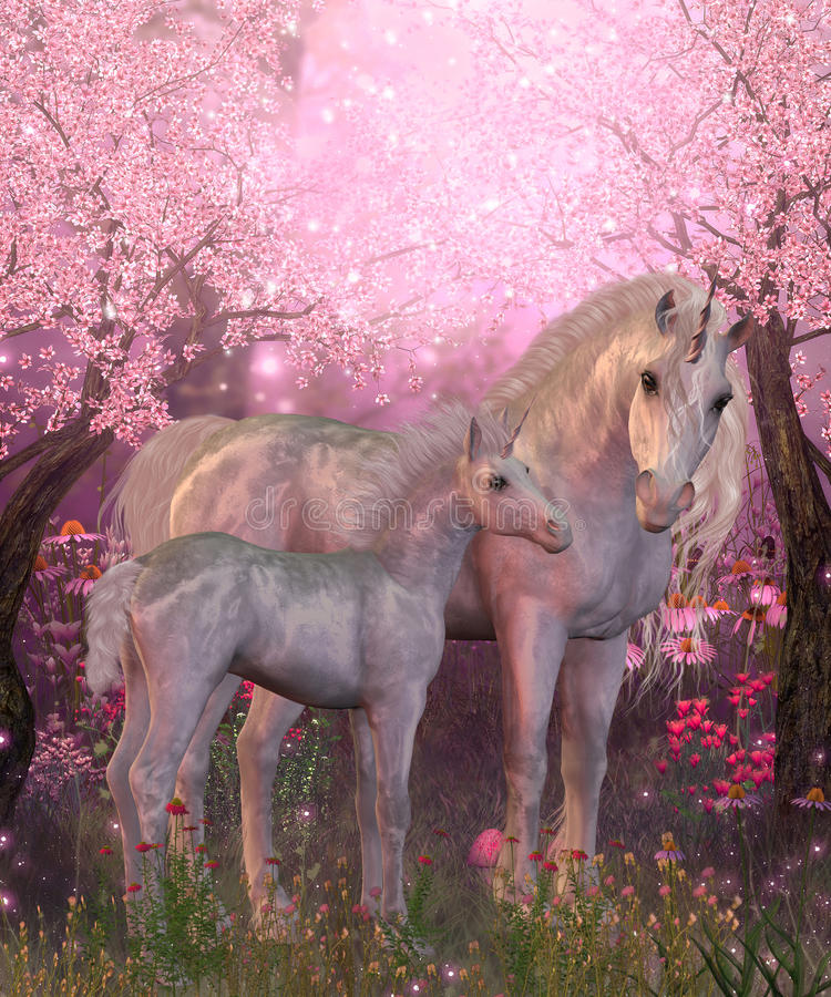Wit Unicorn Mare en Veulen stock illustratie
