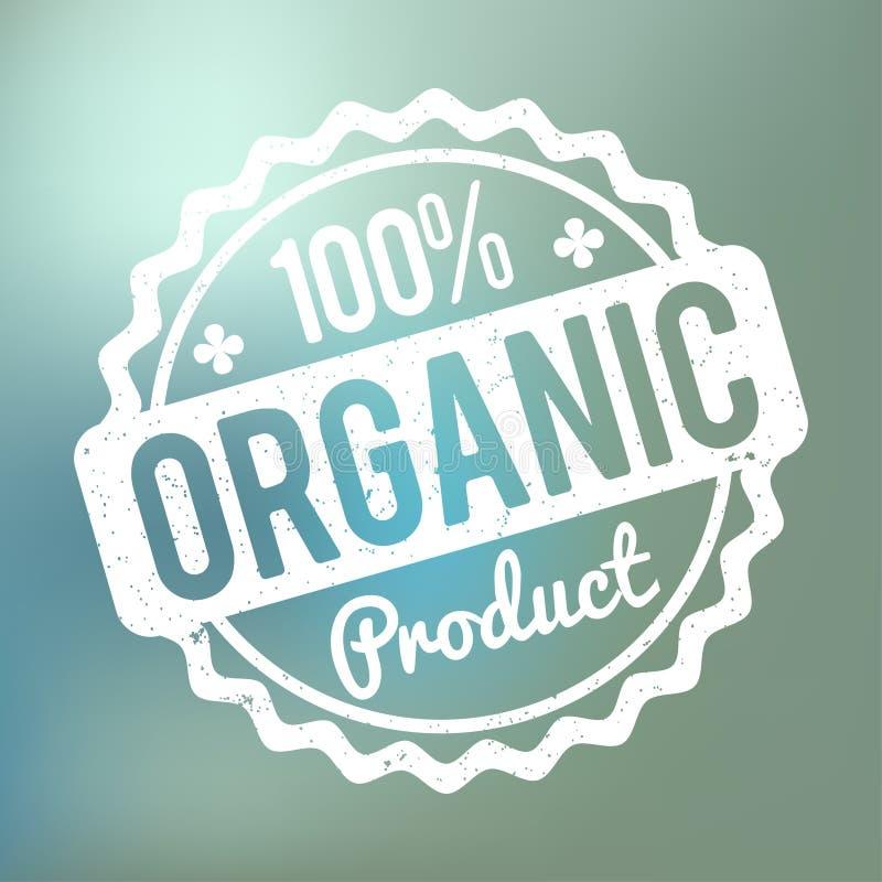 Wit van de biologisch product het rubberzegel op een blauwe bokehachtergrond stock illustratie