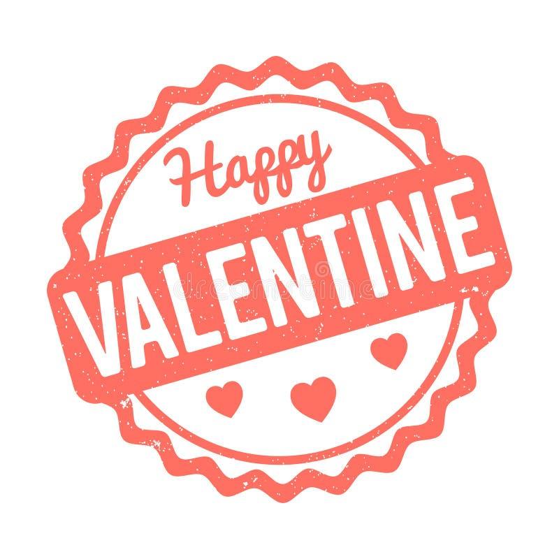 Wit van de de dag het rubberzegel van gelukkig Valentine op Levende Coral Pantone Colour van de Jaar 2019 achtergrond stock illustratie