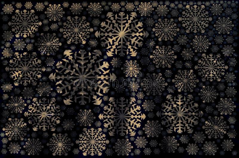 wit van de sneeuwvlokkenwinter zwart goud als achtergrond royalty-vrije illustratie
