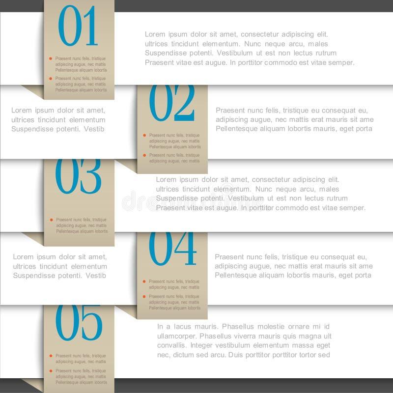 Wit vectordocument genummerd banners stock illustratie