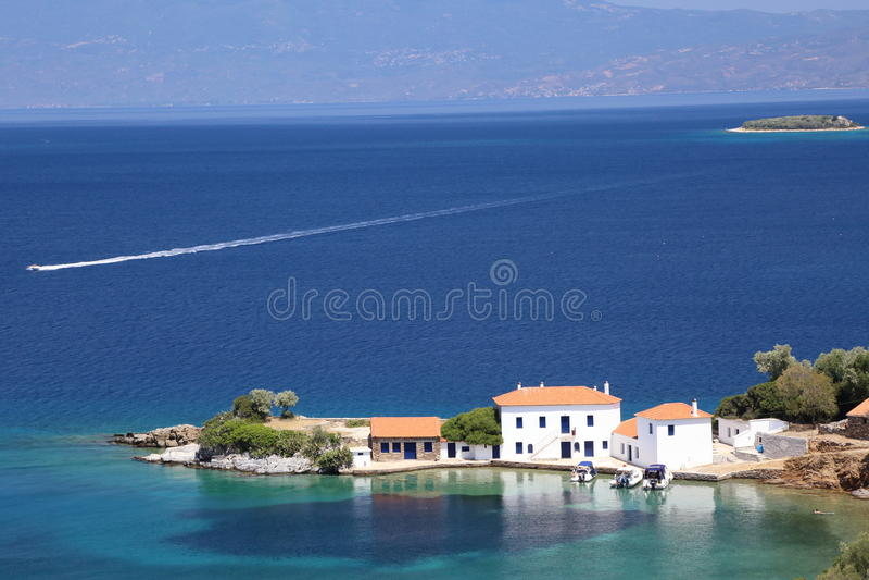 Wit villa'szuiden Pelion Griekenland stock foto's