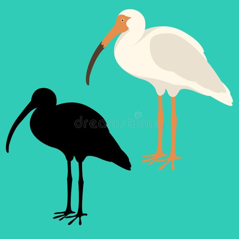 Wit vlak de stijlsilhouet van de ibis vectorillustratie vector illustratie