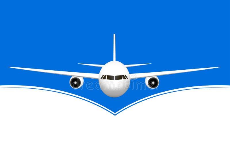 Wit vliegtuig die tegen de blauwe en witte achtergrond van Th, horizontale vectorillustratie vliegen vector illustratie