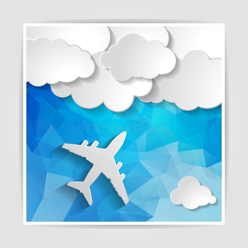 Wit vliegtuig met document wolken op Abstracte blauwe geometrisch vector illustratie