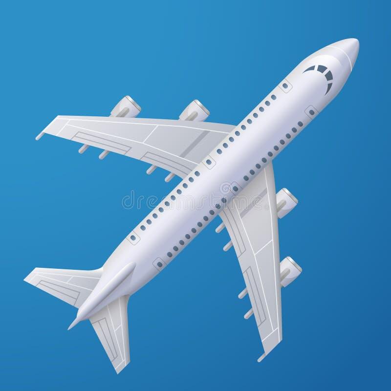Wit vliegtuig tegen blauwe achtergrond royalty-vrije illustratie