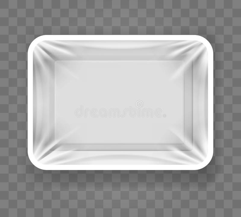 Wit voedsel plastic dienblad vector illustratie
