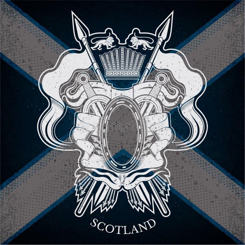 Wit Wapenschild met ovaal Kader en Uitstekende Wapens op de Vlagachtergrond van Schotland royalty-vrije illustratie