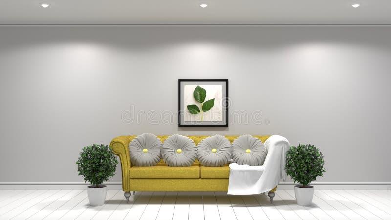 Wit woonkamer binnenlands ontwerp, Gele stoffenbank, lamp en installaties en kader op lege witte muur het 3d teruggeven vector illustratie