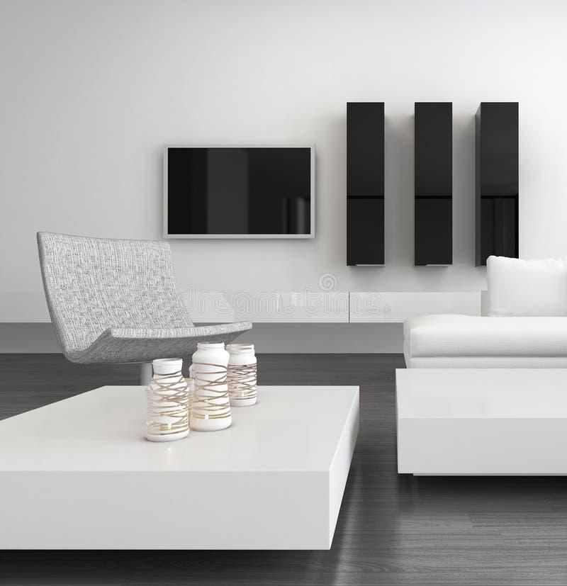 Wit woonkamerbinnenland met modern meubilair vector illustratie
