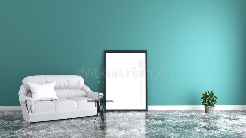 Wit woonkamerbinnenland met stoffenbank, beeld en installaties op de lege achtergrond van de muntmuur het 3d teruggeven stock illustratie
