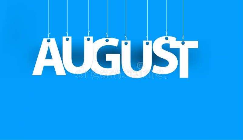 Wit woord AUGUSTUS - woord het hangen op de kabels op blauwe achtergrond vector illustratie