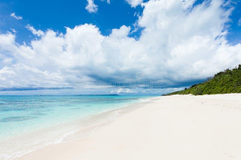 Wit zand tropisch strand op verlaten eiland stock foto's