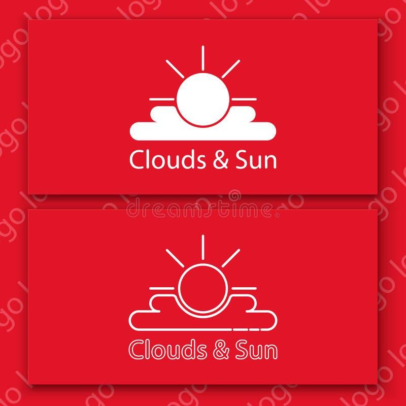 Wit zon en wolkenteken op een rode kaart stock foto