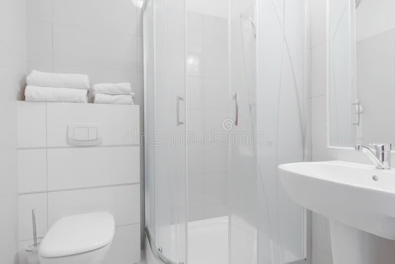 Wit zuiver toiletbinnenland stock foto's