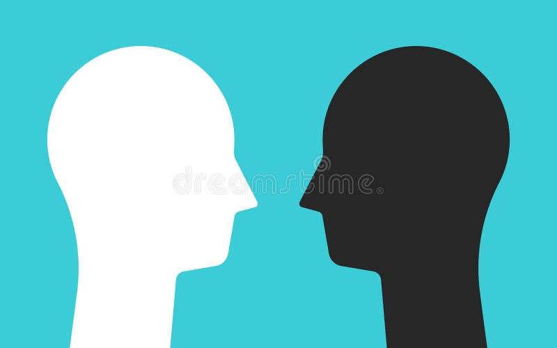 Wit, zwarte tegenover hoofden royalty-vrije illustratie