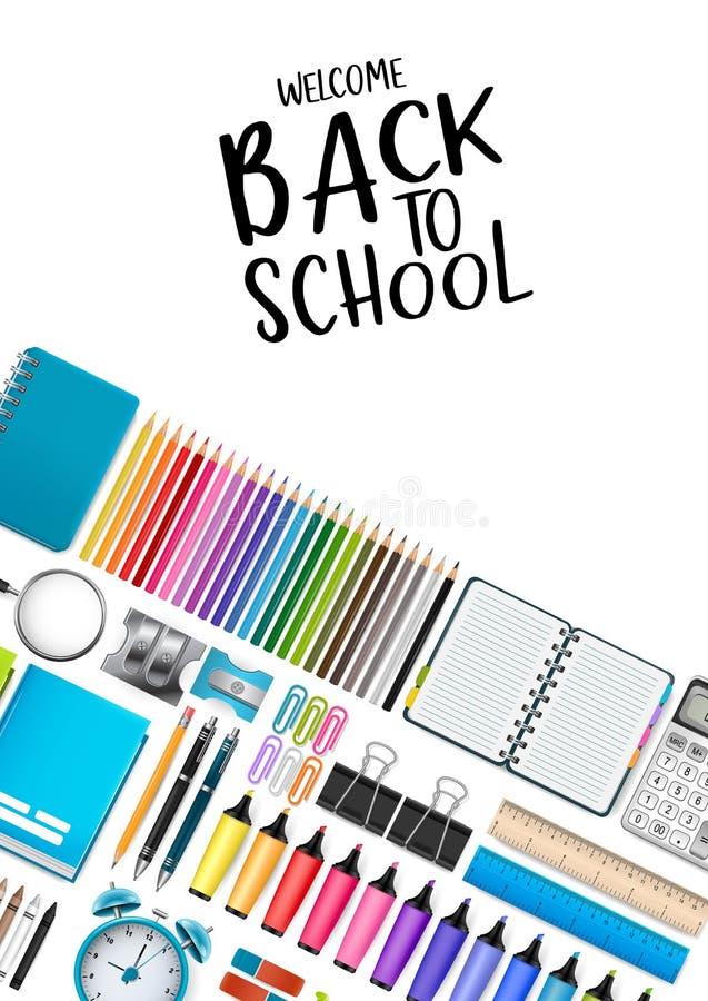 Wita z powrotem szkoła biały plakat z jaskrawymi kolorowymi dostawami dla edukacji 3D Realistyczny wektor royalty ilustracja