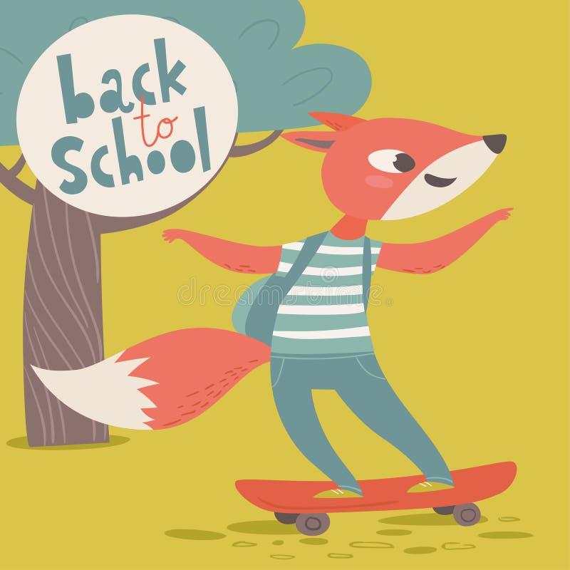 Wita z powrotem szkoła plakat z kreskówek zwierzętami Fox z łyżwą ilustracji