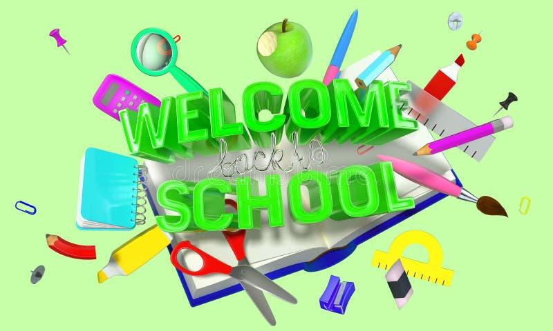 Wita z powrotem szkoła skład z różnymi przedmiotami i tekstem ilustracja wektor