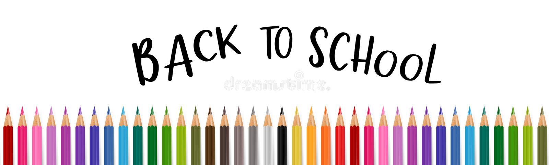 Wita z powrotem szkoła sztandar z kolorowymi ołówkami wektor ilustracji