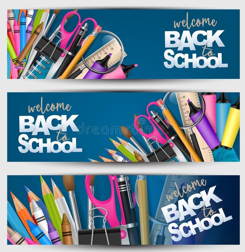 Wita z powrotem szkoła sztandar ustawiający z dostawami dla nauki - ołówki, pencs, nożyce, papierowa klamerka, kredki Chodnikowie royalty ilustracja