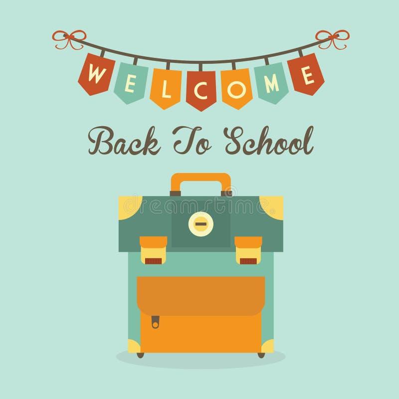 Wita Z powrotem szkoła sztandaru wiadomość z retro szkolnej torby ikoną ilustracji