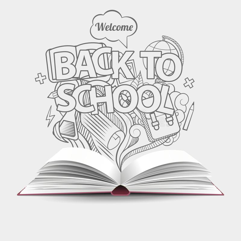 Wita z powrotem szkoły sprzedaży tło z budzikiem i blac ilustracji
