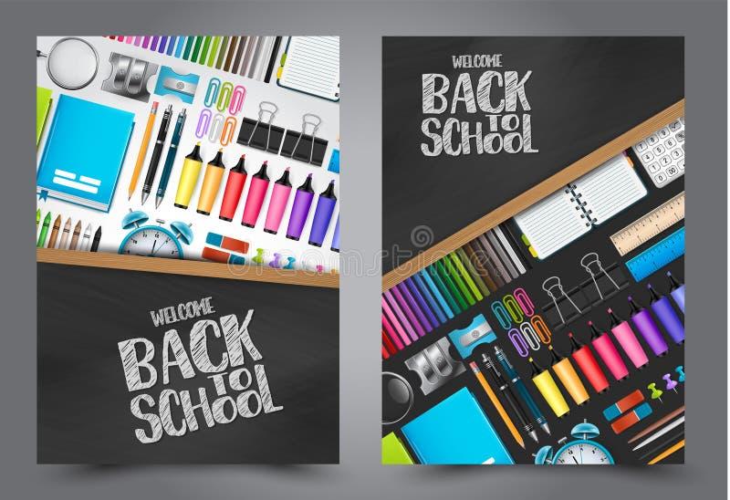 Wita z powrotem szkoły ulotka z kolorowym 3d realistycznym materiały ilustracji