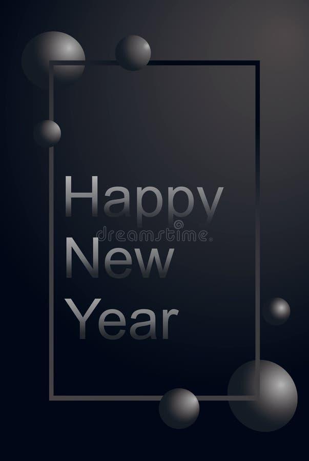 Witający mody kartę i luksusu karcianego Szczęśliwego nowego roku 2020 i Wesoło boże narodzenia z srebnym tekstem i szarość mamro royalty ilustracja