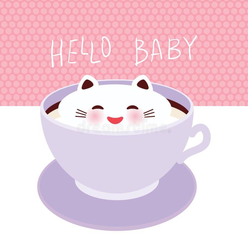 witaj kochanie Śliczny Kawai kot w lilej filiżance spienia sztuki kawę, odizolowywającą na biel menchii polki kropki ściany tle L ilustracja wektor