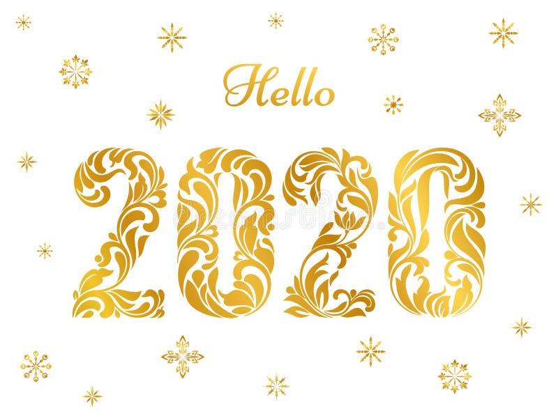 Witaj 2020 Płatki śniegu i złote figurki z ozdobą kwiatową wyizolowaną na białym tle royalty ilustracja