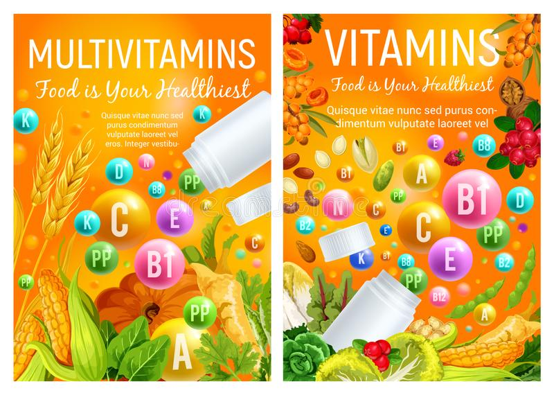 Witamin pigułki w warzywach i owoc ilustracja wektor