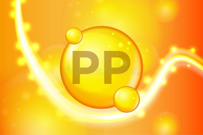 Witamin PP pigułki kapsuły złocista olśniewająca ikona Witamina kompleks z Chemiczną formułą połysku złoto błyska Medyczny i farm royalty ilustracja