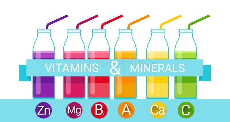 Witamina koktajlu butelki Chemicznych elementów odżywki Istotne kopaliny ilustracji