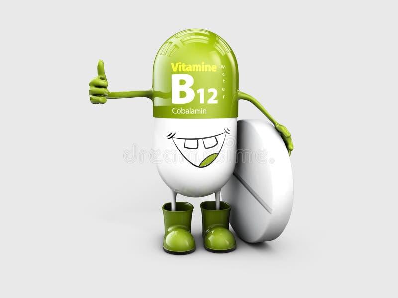 Witaminy B12 pigułki kreskówki olśniewająca kapsuła ilustracja 3 d ilustracja wektor
