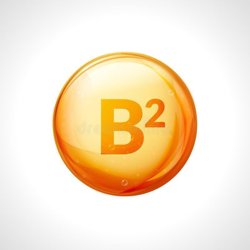 Witaminy B2 złota esencja Riboflavin pigułki witaminy opadowy traktowanie Złotej wektorowej naturalnej medycyny odosobniona ikona royalty ilustracja