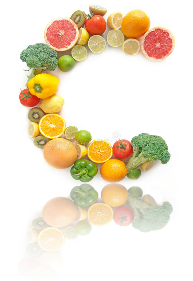 Witaminy C owoc i warzywo bogaty abecadło obrazy stock