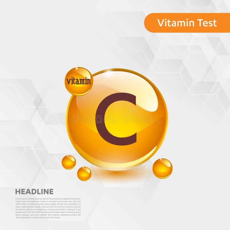 Witaminy C pigułki capcule złocista olśniewająca ikona, cholecalciferol złoty witamina kompleks z Chemicznej formuły substancji k royalty ilustracja