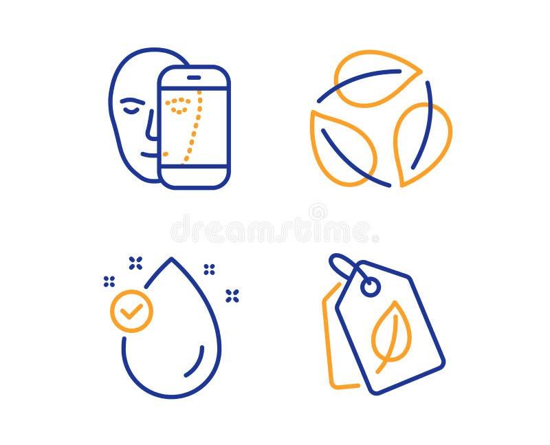 Witaminy e, li?ci i twarzy biometrii ikony ustawia?, ?yciorys etykietka znak Nafciana kropla, natura li??, Twarzowy rozpoznanie w ilustracja wektor