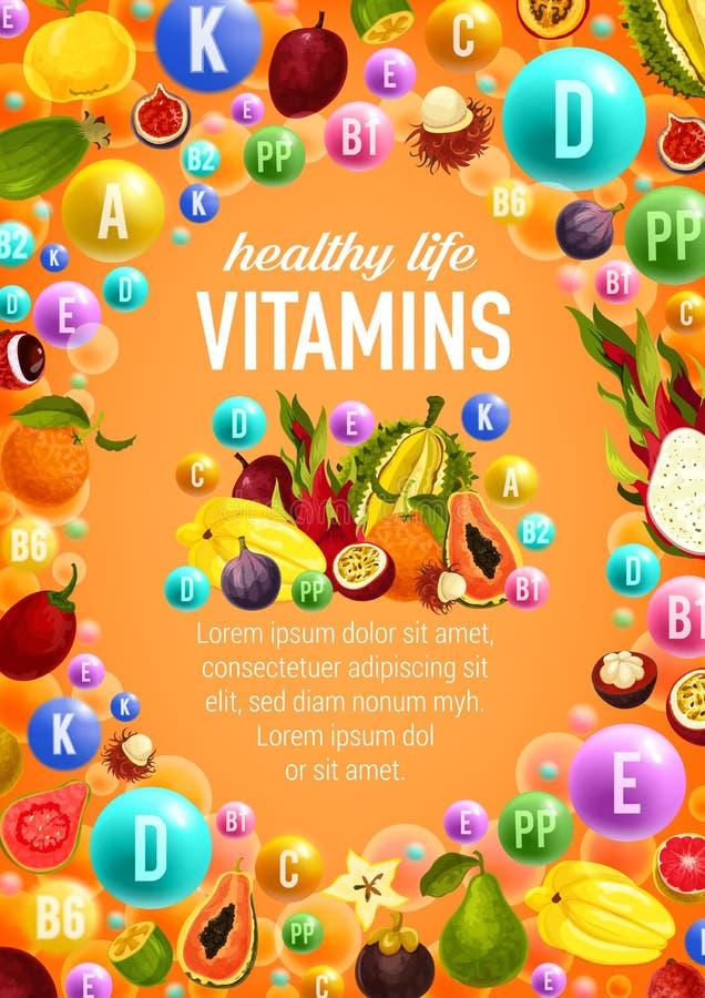 Witaminy i kopaliny plakatowi z owoc wektorowymi ilustracji
